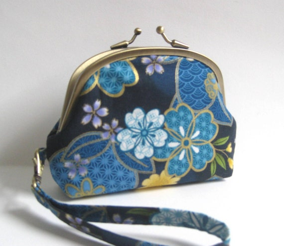 Reserved Listing for Pam - Double Frame Wristlet in Blue Japanese Floral