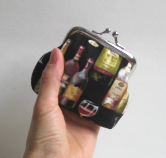 Small Coin Purse in Black with Wine Bottles and Glasses