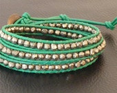 Pyrite is Never Wrong, Faceted Pyrite Nuggets on Kelly Green Leather Wrap Bracelet