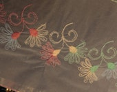 1 yard-by-the-yard -5.5 inches wide - Embroidered - ORGANZA - Trim with Embroidered Flowers - OPAQUE - N010