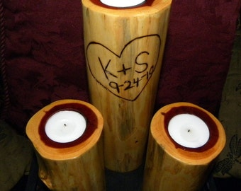 Wedding unity candles - Anniversary  candles-Set of 3 hand-made Cedar candle Holders-Initials and Date Included-Driftwood Candles