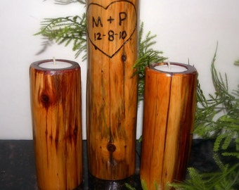 Woodland Wedding Candle Holders.Set of 3 Unity candles-Heart and Date included with initials