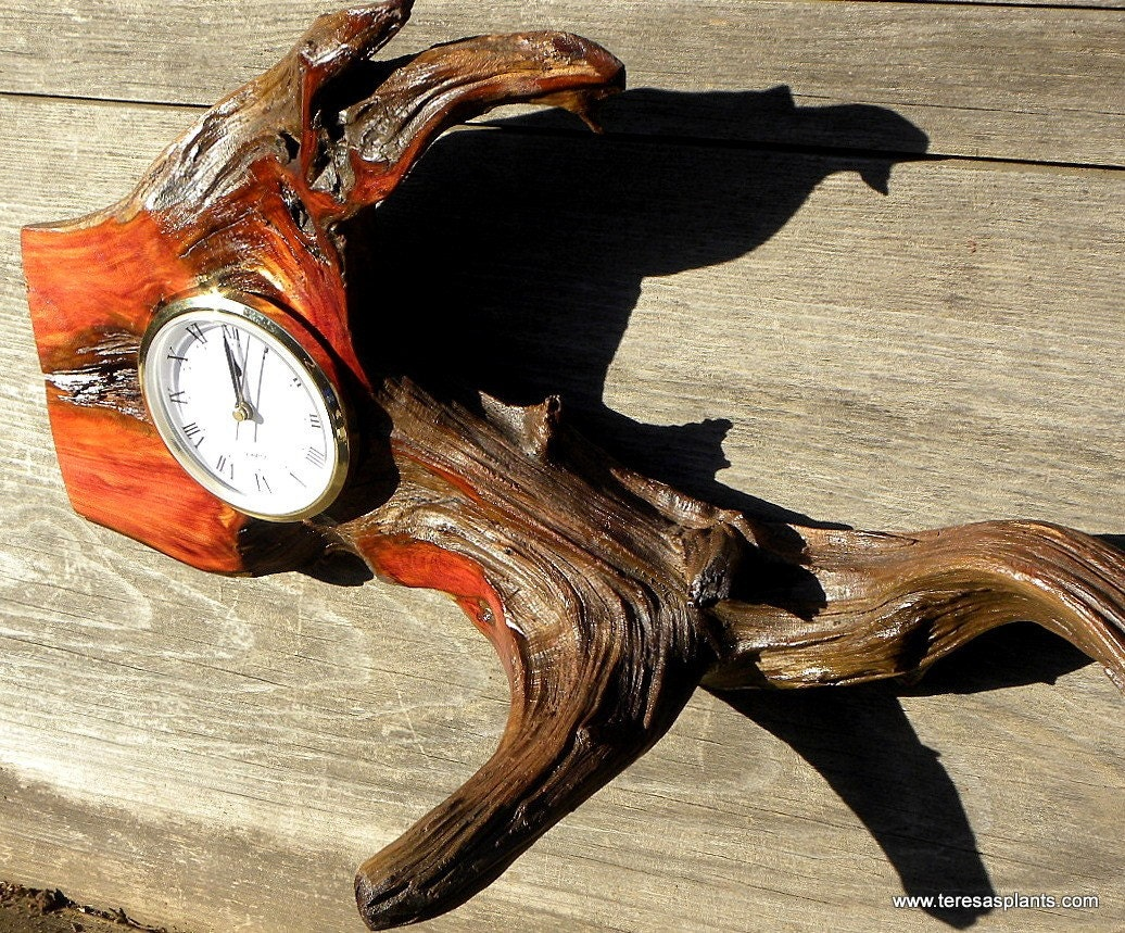 Root Section Mantle Or Wall Insert Clock-Cedar Wood-Cabin