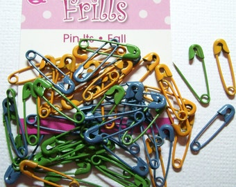 Package of 50 FALL Themed coiled safety PINS for CRAFTS Close-out