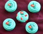 Strawberry Patch Fruit Slice Green and Pink Cupcake Necklace / Pendant