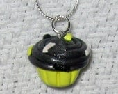 Happy Yellow and Black Summer BumbleBee Cupcake Necklace / Pendant