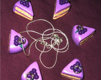 Fruity Purple Iced Grape Vanilla Cake Slice Necklace / Pendant