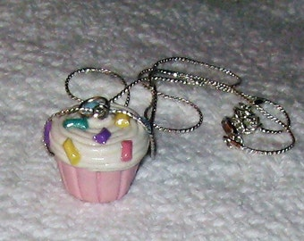 Vanilla Icing With Rainbow Sprinkles Pink or Yellow Cupcake Necklace / Pendant