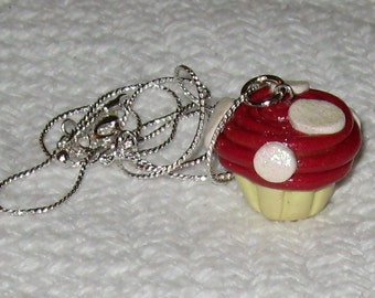 Red and White Toadstool Mushroom Cupcake Necklace / Pendant
