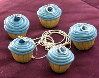 Blue Frosted Blueberry Cream Cupcake Topped with Blueberries Necklace / Pendant