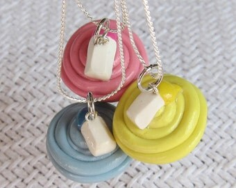 It's a Girl Pink, It's a Boy Blue, or Neutral Yellow Babies Bottle Baby Shower Cupcake Necklace / Pendant