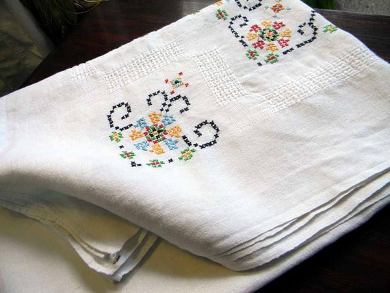 Large Vintage Linen Tablecloth Table Cloth Generously Cross Stitch Embroidered and Pulled Work 4843