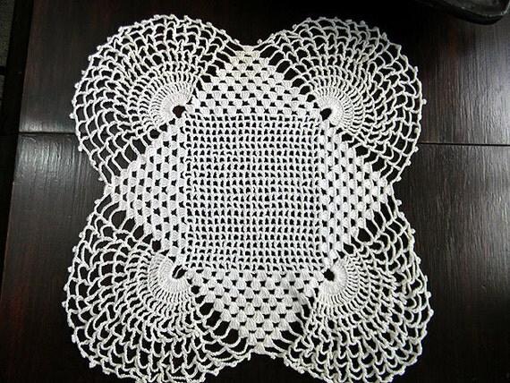 Art Deco Sunrise Doily  - Hand Crocheted in French Cream 6117