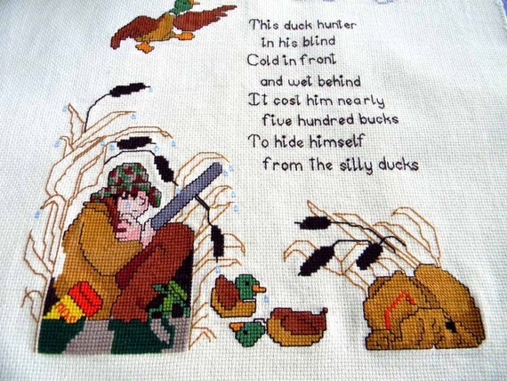 Needlepoint Cross Stitch Tapestry Linen Panel Unframed Duck Hunt 4625 Black Friday / Cyber Monday