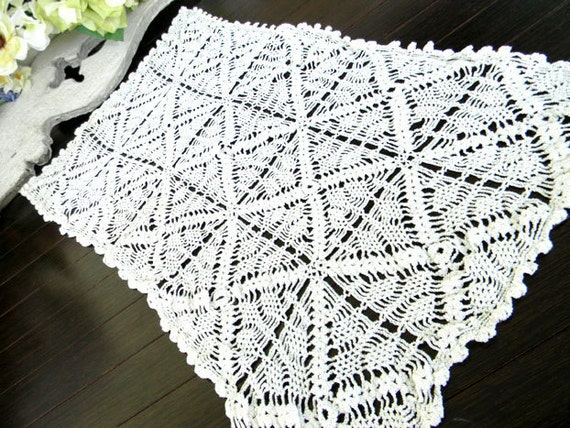 White Crochet Lacy Table Runner or Scarf 3717