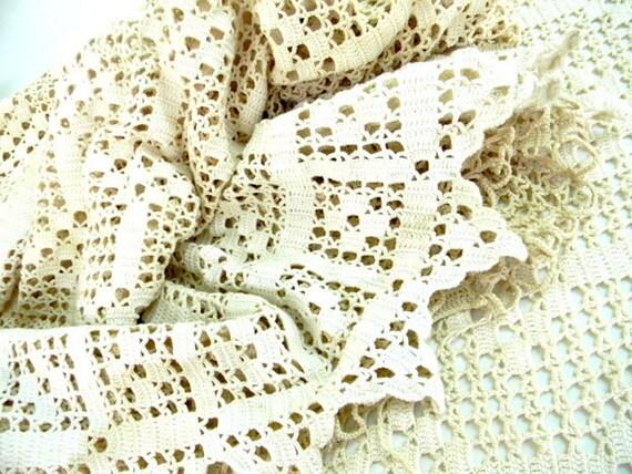 2 Tea Dyed Crocheted Curtains 7263