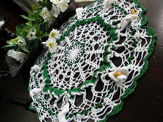 Large Crochet Doily or Crocheted Centerpiece - White Lily Accents 6140
