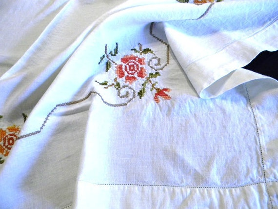 Embroidered Tablecloth Table Cloth - Vintage Linen Cross Stitched and Hemstitched 6080