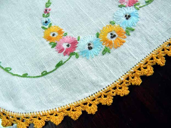 Vintage Table Runner Embroidered Linen Crochet Edge - Short Table Scarf 5539
