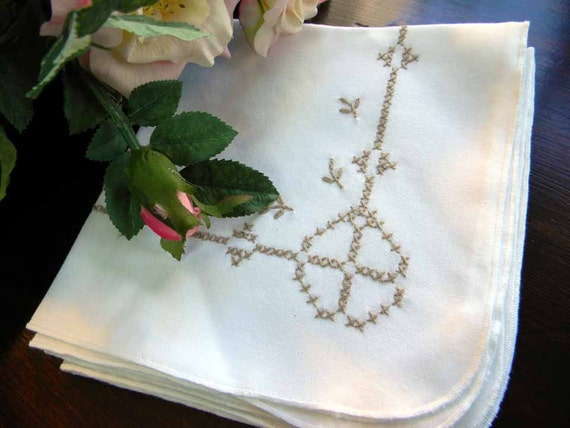 Vintage 4 White Cross Stitched in Taupe Embroidered Napkins Set  4709
