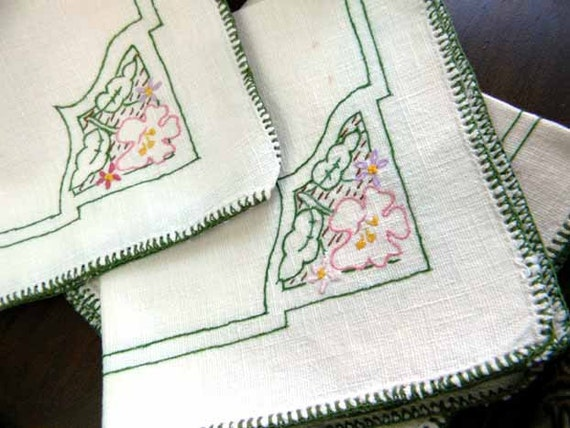 3 Embroidered Tea Napkins - Off White Linen - Blanket Stitched Edges 7173