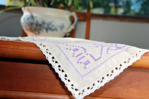 Linen Centerpiece or Placemat Off White - Purple Cross Stitch and White Crochet Edging 7033