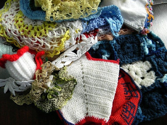 Vintage Crochet Bulk Assorted 2 lb Suitable for Cutting / Crafts or Collage Arts 6246