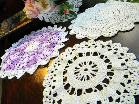 3 Crochet Doilies Purples and Off White 5302 Black Friday / Cyber Monday