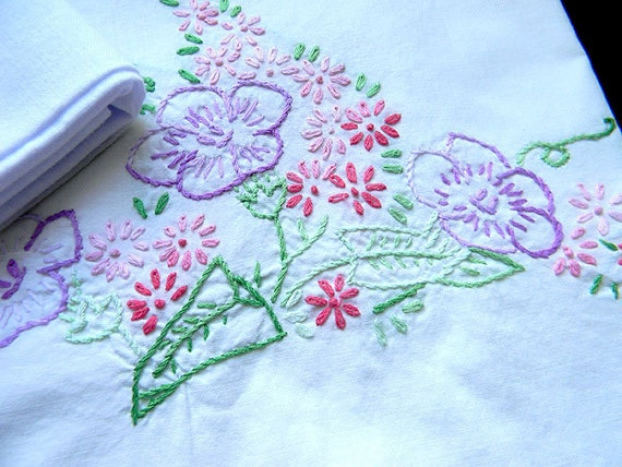 2 Pillow Cases Pillowcases Crocheted Edging and Embroidered - One Damaged 7477