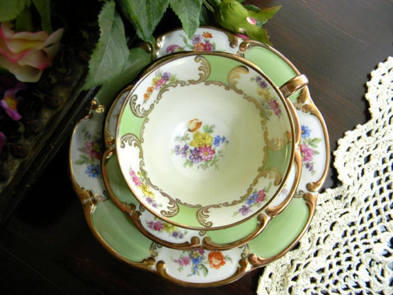Teacup Saucer and Side Plate - Tirschenreuth PT Trio Footed - Bavaria Germany 7675