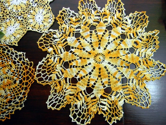 3 Vintage Crochet Doilies Variegated Oranges - Hand Crocheted 7694