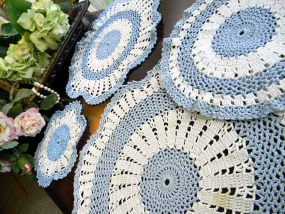 4 Crocheted Blue and White Doilies 5608