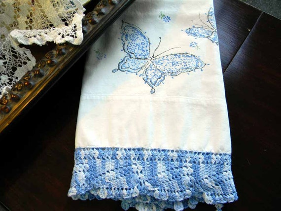 Vintage Pillow Case, Embroidered Pillowcase,  Damaged Pillow Slip, Printed or Hand Painted 5128