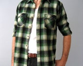 SALE - 90s Green Grunge Flannel Shirt - Med