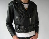 Punk Rock Black Leather Jacket - Medium