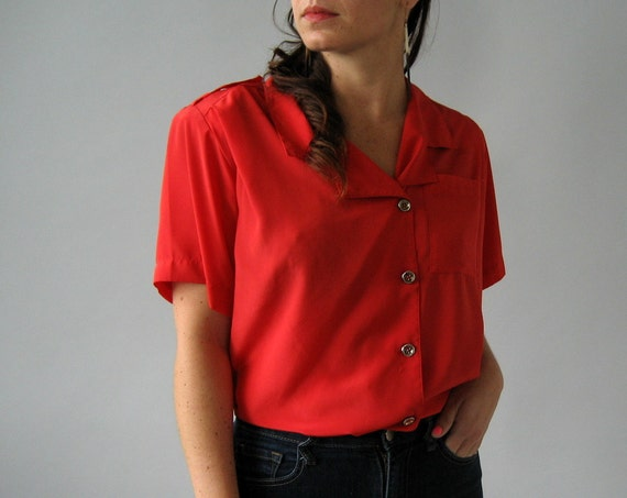 Red Button Up Blouse - S/M
