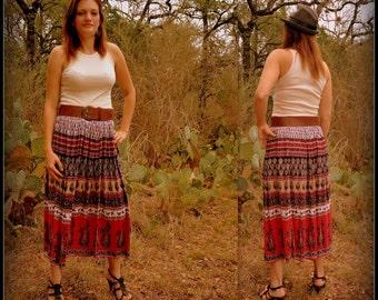 Vintage Long Floral Boho Skirt SM Med