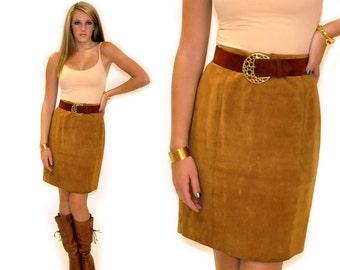 Vintage Suede Skirt Sz  MED LRG