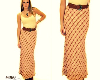 Vintage Checkered Maxi Skirt Sz SM MED