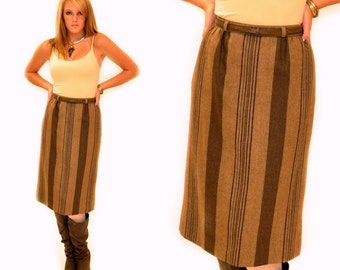 Vintage Wool Stiped Belted Skirt Sz XS SM