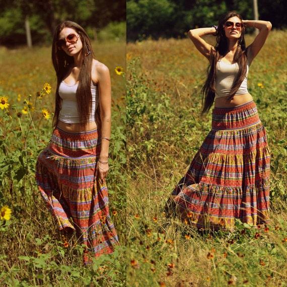 Vintage Maxi  Festival Hippie Boho Skirt MEDIUM LARGE