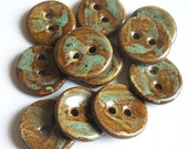 Brown and Green Ceramic buttons