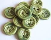 Lichen Green Celtic Ceramic Buttons