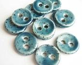 Gentle Blue Speckled Ceramic Buttons