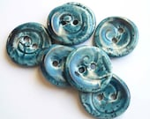 Blue Twirl Ceramic Buttons