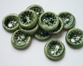Green Spotted Ceramic Buttons