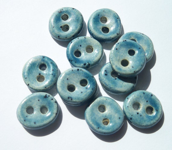 Itty Bitty Gentle Blue Ceramic buttons
