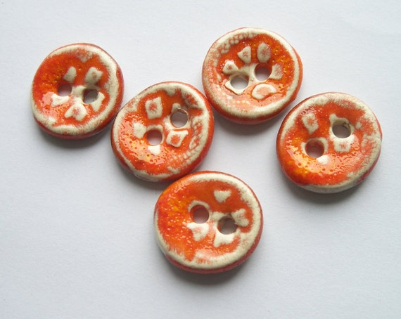 Tangerine Patterned Ceramic Buttons
