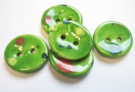 Apple Green Ceramic Buttons with flecks of colours