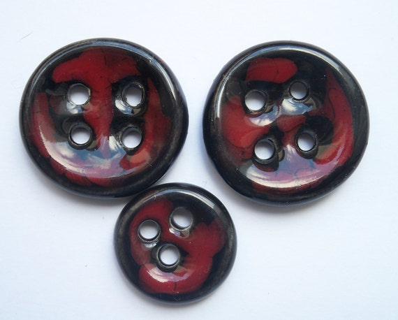 Black and Red Ceramic Buttons